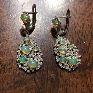 NWOT Sterling silver fire opal cz dangle earrings
